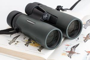 Binoculars on an open bird watching book
