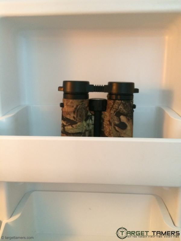 Carson 3D binoculars in freezer to check weatherproof ability