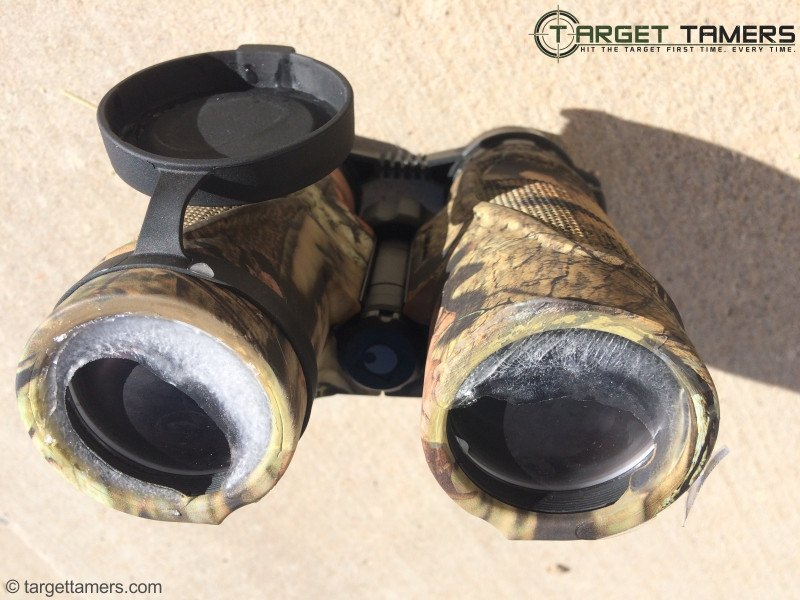 Carson binoculars with ice in eye cups after being frozen
