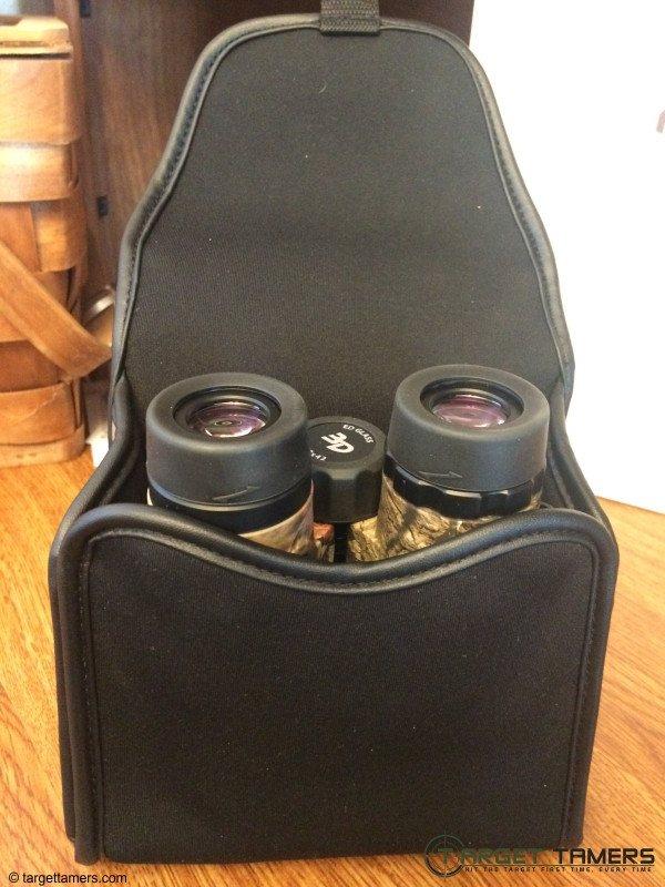Binoculars inside BinoArmor neoprene case