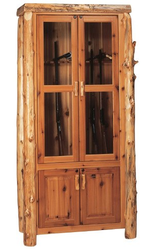 Fireside Lodge Furniture Cedar Hand Crafted Cedar Log Gun Cabinet