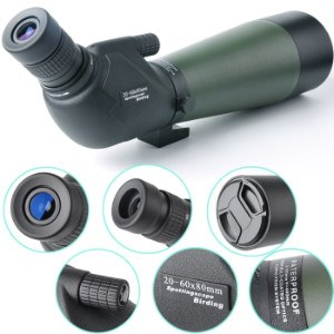 Close up of components on 20-60x80 Gosky spotting scope