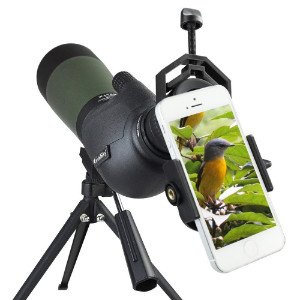 Gosky spotting scope with iPhone attached
