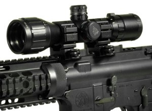 UTG rifle scope mounted on rifle