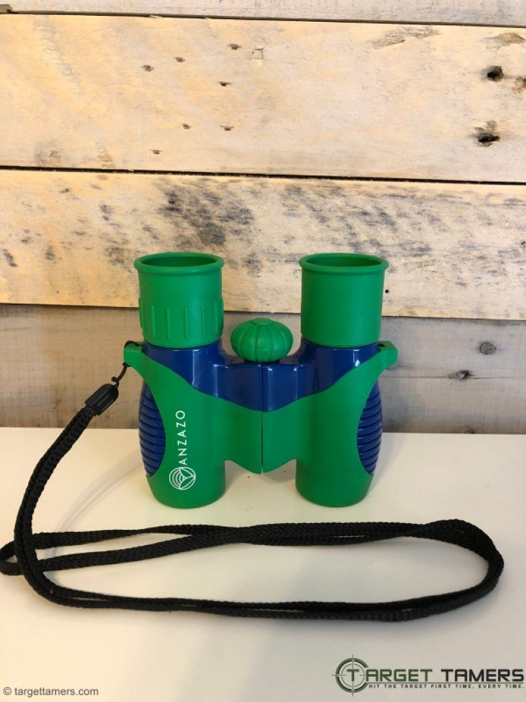 Anzazo kids binoculars with lanyard attached
