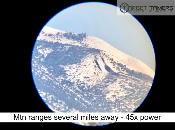 Photo of mountain ranges taken at 45x magnification with Carson spotter