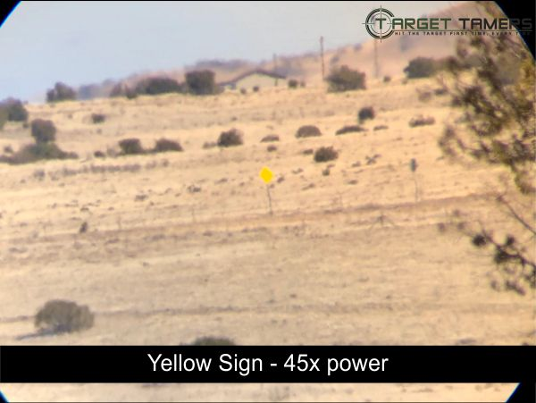 Photo of road sign taken at 45x magnification through SS-560 spotter