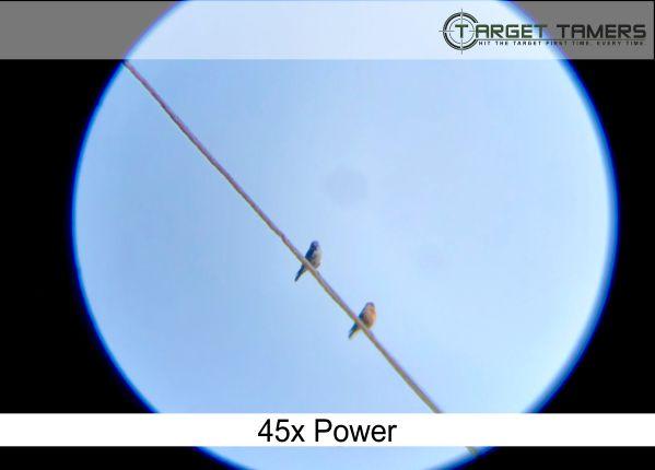 Photo of bird on powerline taken through Carson spotter at 45x power