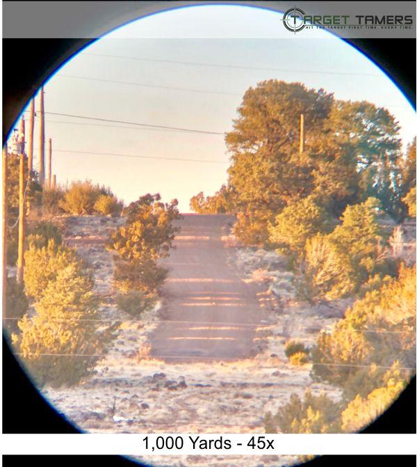 Photo of road 1000 yards away taken at 45x power through Carson scope