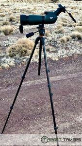 Carson spotting scope set up on extendable Vanguard tripod
