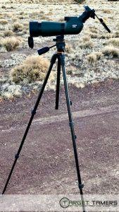 Carson spotting scope set up on extendable Vanguard tripod