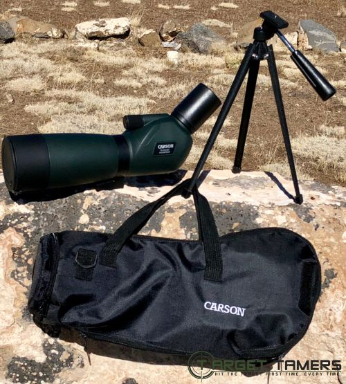 Carson Everglade Spotting scope, carry case and tripod on display