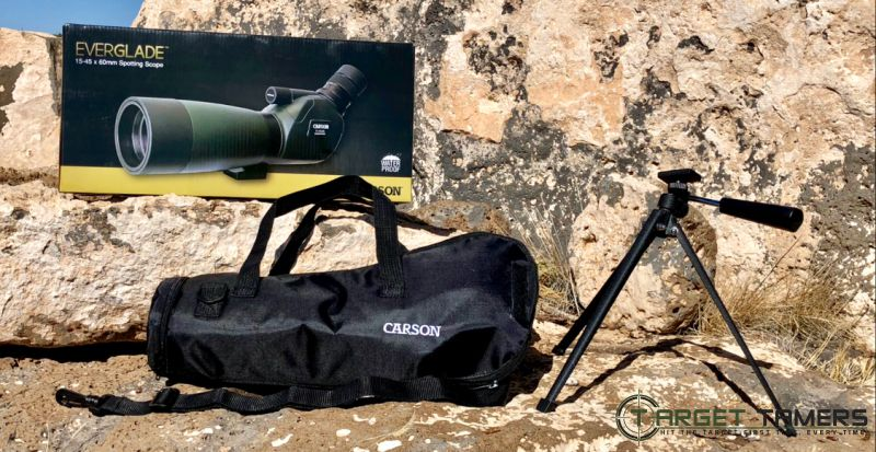 Carson Spotting Scope packaging, tripod and carry case