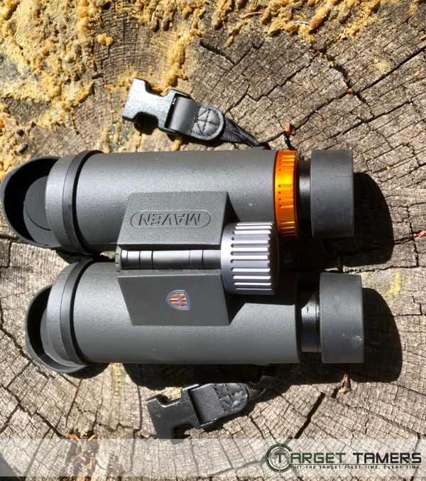Grey Maven binocular with orange accents