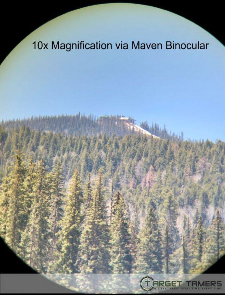Pic of lodge on mountain top as seen through 10x42 Maven bino