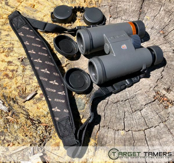 Maven bino with open lens cap and eyepeice covers