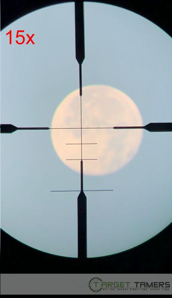 Photo of moon as seen through RS.1 rifle scope at 15x magnification