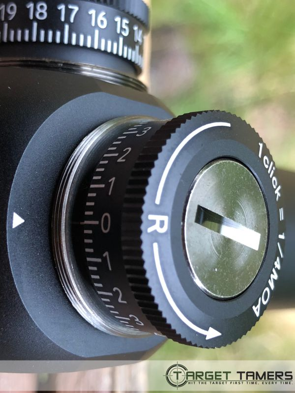 Close up of turret on RS.1 rifle scope