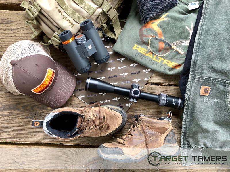 Hunting gear including Maven binos and riflescope