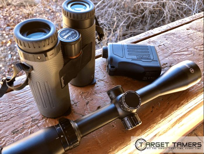 Bushnell Nitro 10x42 Binocular, Prime 4-12x40 Riflescope and Prime 1300 Rangefinder