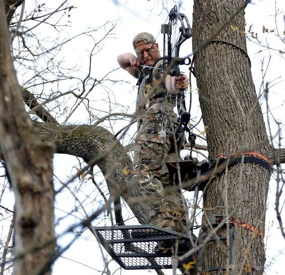 Bowhunter In Tree Stand Looking Through Peep Sight