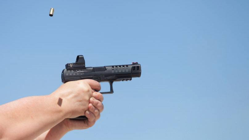 Shooting Handgun with Red Dot Sight Mounted