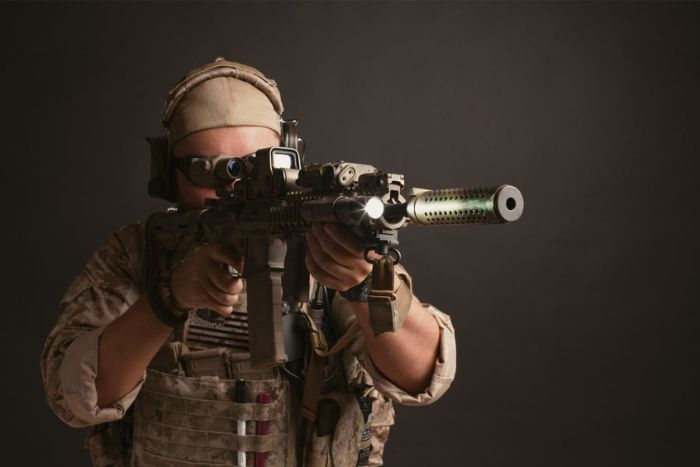 Survival Shooter Looking Through Holographic Sight