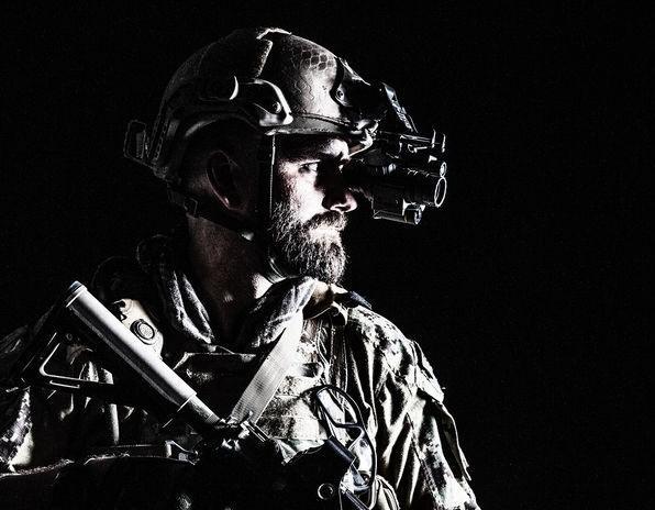 Miliary Man Wearing Night Vision Googles