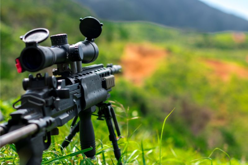 AR 10 Scope Mounted to Hunting Optics For Hunting and Shooting