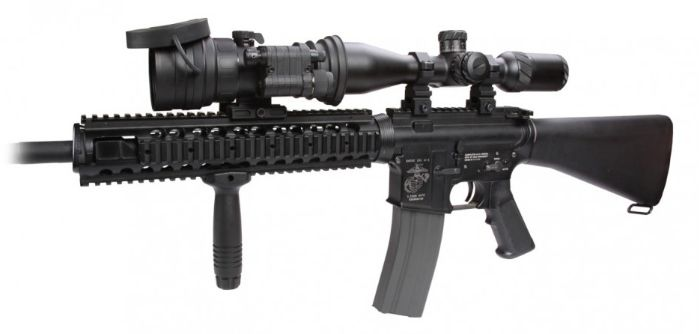 AGM Comanche 22 NL3 Clip On Night Vision Scope Mounted to a Rifle