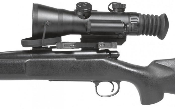 AGM Wolverine-4 NL3 night vision scope mounted to a rifle