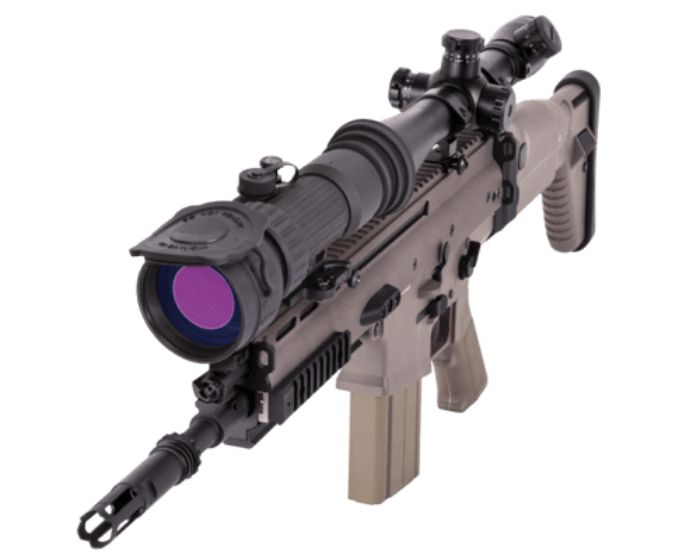 ATN PS28-2 clip on night vision scope mounted to rifle