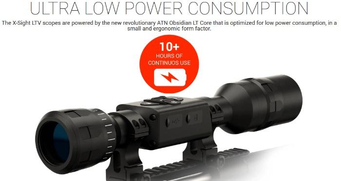 ATN X-Sight LTV 5-15X night vision scope showing power consumption