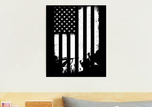 Distressed USA Flag Turkey Hunting Photographic Print