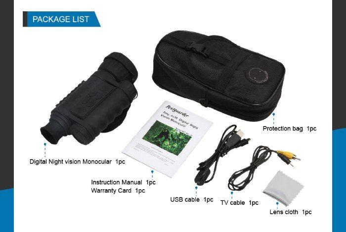 Bestguarder WG-50 Night Vision Monocular & Accessories