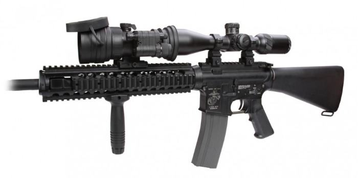 AGM Comanche-22 3NW1 clip on night vision scope mounted to rifle