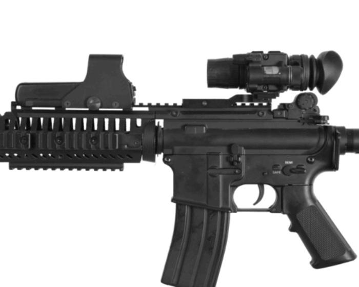 ATN NVM14-4 night vision monocular mounted on rifle