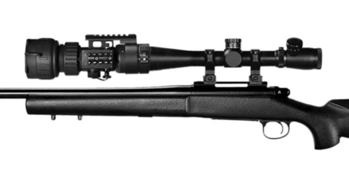 ATN PS28-3 Clip on night vision scope mounted to rifle