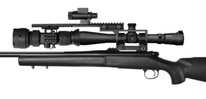 ATN PS28-4 Clip on night vision scope mounted to rifle