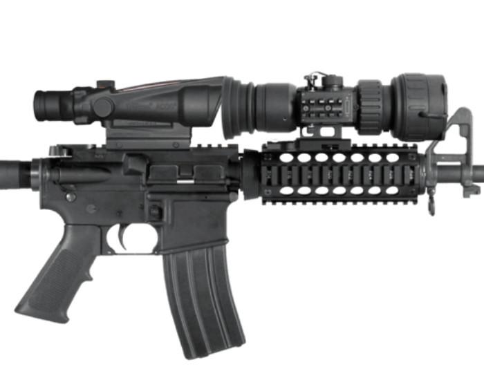 PS28-WPT Digital NV Scope mounted to gun