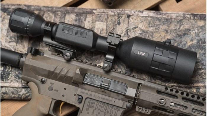 X-Sight 4k 5-20x Pro Smart Day Night Scope Mounted on Rifle