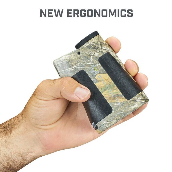 Bone Collector 850 LRF Realtree Edge rangefinder in persons hand