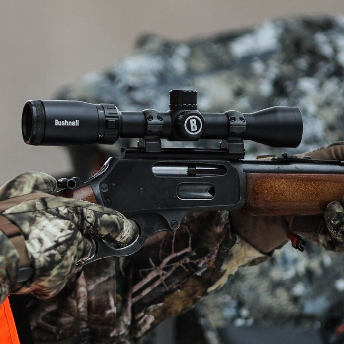 Bushnell Prime 1-4x32 riflescope mounted on rifle