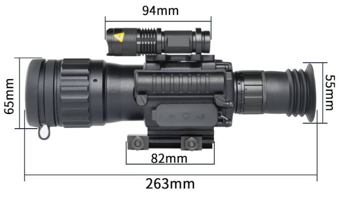 Dimensions of Sniper HD 4.5x50 digital night vision scope
