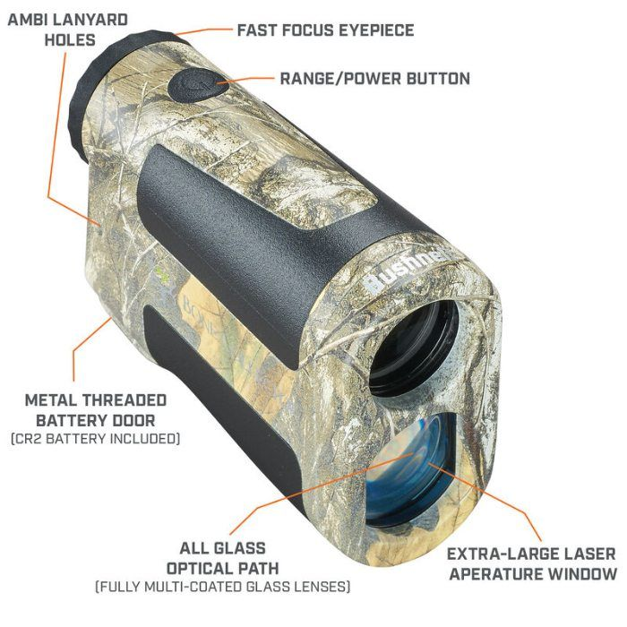 features of Bone Collector 850 LRF Realtree Edge Rangefinder