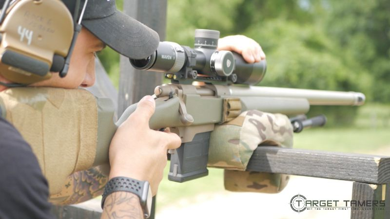 Bill Looking through Maven RS.4 scope mounted on his rifle