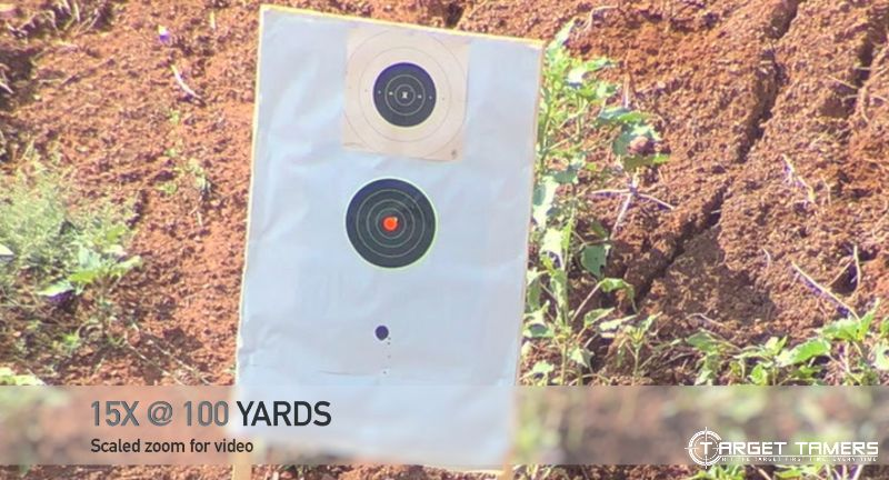 Bullet Groupings at 100 yds with 15x Magnification on Maven CS1