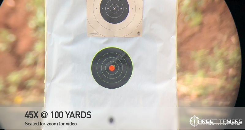 Bullet Groupings at 100 yds with 45x Magnification on Maven CS1