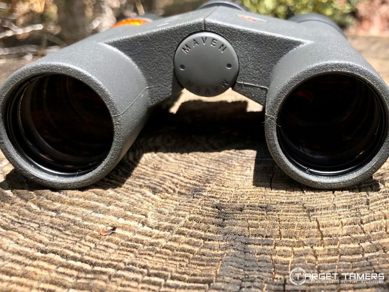 Looking at objective lens on Maven C.2 7x28 compact binoculars