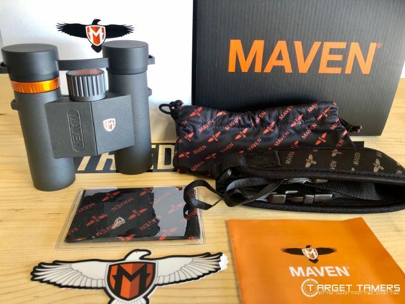 Maven C.2 7x28 binoculars and accessories